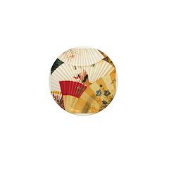 Vintage Japanese Fan Art Mini Button