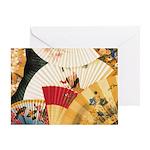 Vintage Japanese Fan Art Greeting Card
