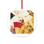 Vintage Japanese Fan Art Ornament (Round)