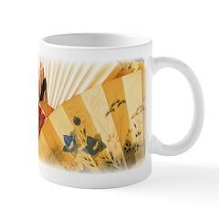 Vintage Japanese Fan Art Ceramic Coffee Mug