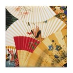 Vintage Japanese Fan Art Tile Drink Coaster
