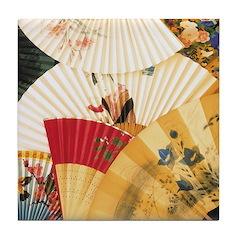 Vintage Japanese Fan Art Tile Drink Coaster