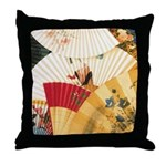 Vintage Japanese Fan Art Throw Pillow