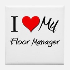 I Heart My Floor Manager Tile Coaster