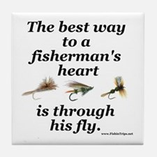 """""""Way to a Fisherman's Heart"""" Tile Coaster"""
