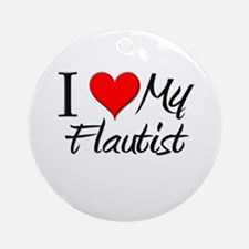 I Heart My Flautist Ornament (Round)