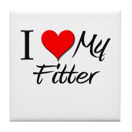 I Heart My Fitter Tile Coaster