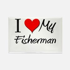 I Heart My Fisherman Rectangle Magnet