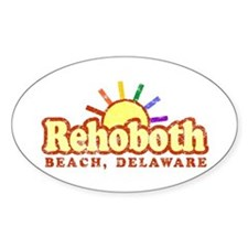 Sunny Gay Rehoboth Beach, Delaware Oval Decal