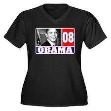 USA for Obama 2008 Women's Plus Size V-Neck Dark T