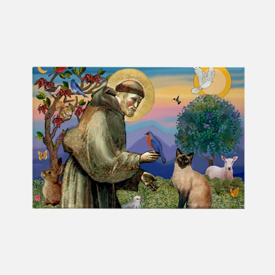 St Francis / Siamese Rectangle Magnet (10 pack)