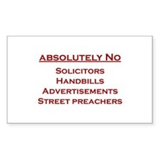 No Soliciting Rectangle Decal