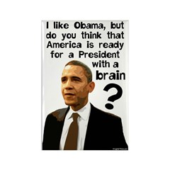 Barack Obama With A Brain Rectangle Magnet
