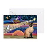 Siamese cat christmas Greeting Cards (10 Pack)