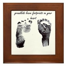 """grandkids leave footprints"" Framed Tile"