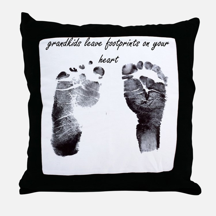 """grandkids leave footprints"" Throw Pillow"