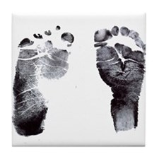 """footprints"" Tile Coaster"