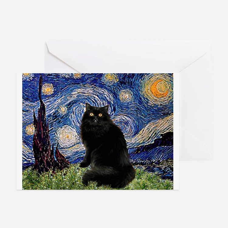 Starry Night /Persian (bl) Greeting Cards (Pk of 1