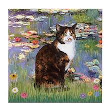 Lilies & Calico cat Tile Coaster