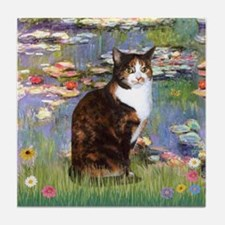 Lilies & Calico cat Tile Coaster