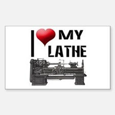 I Heart (Love) My Lathe Rectangle Decal