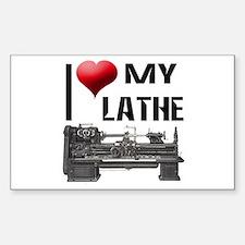 I Heart (Love) My Lathe Rectangle Decal