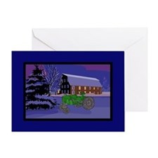 Country Barn Green Tractor Christmas Greeting Card