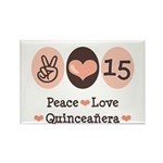 Peace Love Quinceanera Rectangle Magnet