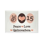 Peace Love Quinceanera Rectangle Magnet (100 pack)