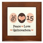 Peace Love Quinceanera Framed Tile
