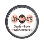 Peace Love Quinceanera Wall Clock