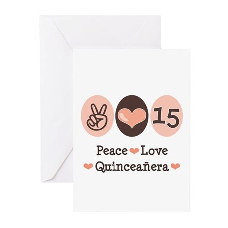 Peace Love Quinceanera Greeting Cards (Pk of 20)
