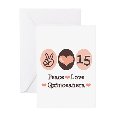 Peace Love Quinceanera Greeting Card