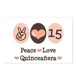 Peace Love Quinceanera Postcards (Package of 8)
