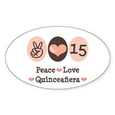 Peace Love Quinceanera Oval Decal