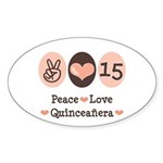 Peace Love Quinceanera Oval Sticker