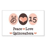 Peace Love Quinceanera Rectangle Sticker