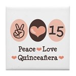 Peace Love Quinceanera Tile Coaster