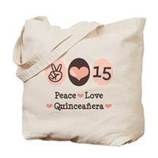 Peace Love Quinceanera Tote Bag