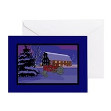 Country Barn Red Tractor Christmas Greeting Card