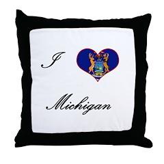 I Love (Heart) Michigan Throw Pillow