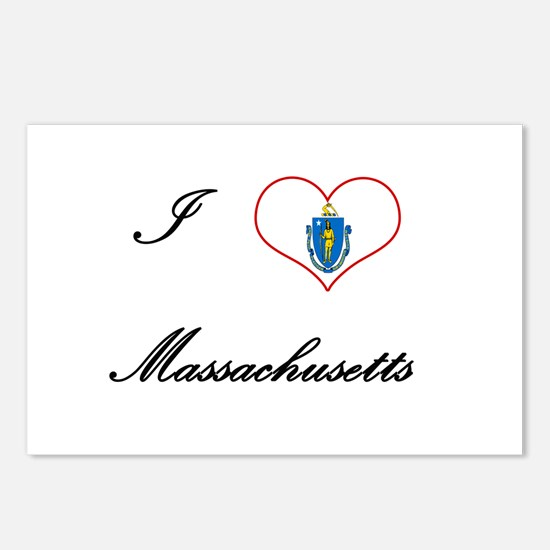 I Love (Heart) Massachusettes Postcards (Package o