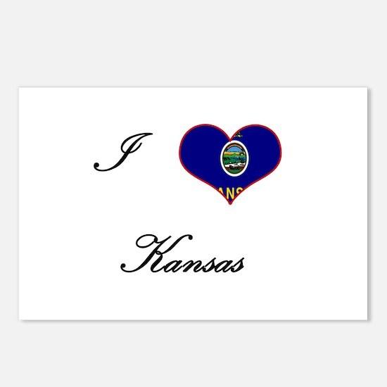 I Love (Heart) Kansas Postcards (Package of 8)