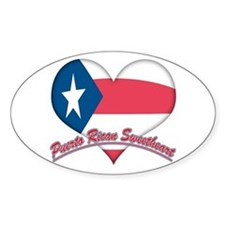 Puerto Rican Sweetheart Oval Stickers