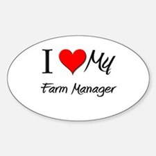 I Heart My Farm Manager Oval Decal