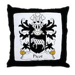 Picot Family Crest Throw Pillow