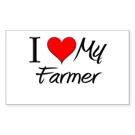 I Heart My Farmer Rectangle Sticker