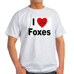 I Love Foxes (Front) Ash Grey T-Shirt
