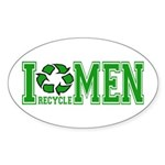 I Recycle Men Oval Sticker