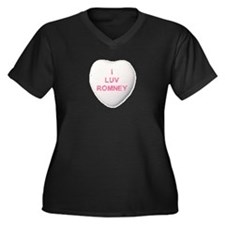 I Love Mitt Romney Women's Plus Size V-Neck Dark T